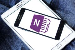 Microsoft office OneNote logo. Logo of Microsoft OneNote on samsung mobile. Microsoft OneNote is a computer program for free form information gathering and multi stock photo