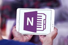 Microsoft office OneNote logo. Logo of Microsoft OneNote on samsung tablet. Microsoft OneNote is a computer program for free form information gathering and multi Royalty Free Stock Photo