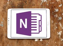 Microsoft office OneNote logo. Logo of Microsoft OneNote on samsung tablet. Microsoft OneNote is a computer program for free form information gathering and multi stock image