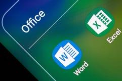Microsoft Office przoduje zastosowanie i formułuje obraz stock