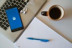 Microsoft office word application on smartphone Stock Photo