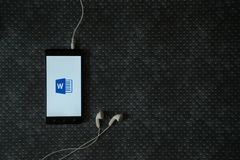 Microsoft office word logo on smartphone screen Royalty Free Stock Photography