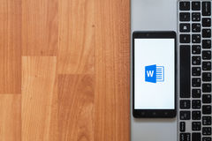 Microsoft Office Word on smartphone screen Stock Photography
