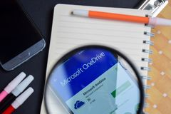Microsoft OneDrive App with magnifying on Smartphone screen.Microsoft OneDrive App with magnifying on Smartphone screen. BEKASI, WEST JAVA, INDONESIA. AUGUST 13 stock image
