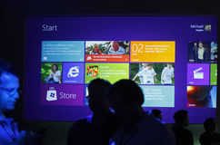 Microsoft Previews Window 8. Microsoft Corp. showed the next version of Windows on June 2, 2011 At 2011 Computex in Taiwan Stock Photos