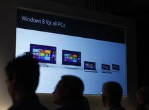 Microsoft Previews Window 8. Microsoft Corp. showed the next version of Windows on June 2, 2011 At 2011 Computex in Taiwan Royalty Free Stock Photography