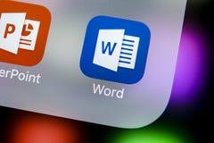 Microsoft słowa podaniowa ikona na Jabłczany X iPhone parawanowym zakończeniu Microsoft Office słowa ikona Microsoft Office na te zdjęcia stock