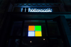 Microsoft sign on a building in Berlin. Royalty Free Stock Photography