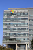 Microsoft sign on a building in Herzliya, Israel. HERZLIYA, ISRAEL - AUGUST 31, 2015: Microsoft corporation office building facade with logo in Herzliya, Israel Royalty Free Stock Photos