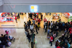 Microsoft Store on Black Friday 2014. Customers waiting in line patiently outside of a Microsoft Store on Black Friday, 2014 Stock Photos