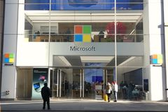 Microsoft Store. A Microsoft store in Fifth Avenue, New York City royalty free stock photos