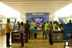 Microsoft store filled with customers royalty free stock photography