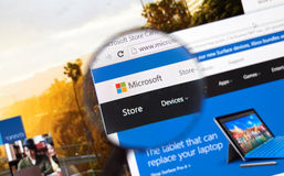 Microsoft Store on the web. MONTREAL, CANADA - FEBRUARY, 2016 - Microsoft store on the web under magnifying glass stock photography