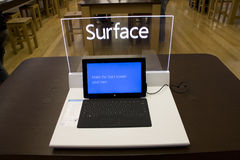 Microsoft Surface in Microsoft Store. Microsoft Surface is a series of tablets designed and marketed by Microsoft. It is Microsofts first computer product. It Royalty Free Stock Images