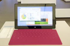 Microsoft Surface in Microsoft Store Royalty Free Stock Photography