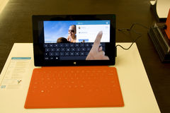 Microsoft Surface in Microsoft Store royalty free stock image
