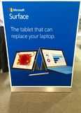 Microsoft surface in store advertising display. Microsoft surface advertising in store shortly after windows 10 launch Royalty Free Stock Images