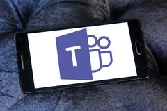 Microsoft Teams logo. Logo of Microsoft Teams on samsung mobile. Microsoft Teams is a platform that combines workplace chat, meetings, notes, and attachments royalty free stock photo