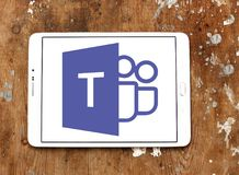 Microsoft Teams logo. Logo of Microsoft Teams on samsung tablet. Microsoft Teams is a platform that combines workplace chat, meetings, notes, and attachments royalty free stock photos