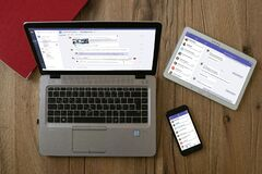 Free Microsoft Teams On Different Devices Royalty Free Stock Images - 185953949