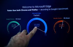 MIcrosoft Windows 10 pro installation welcome to microsoft Edge. LONDON, UNITED KINGDOM - jun 15, 2017: Moun touch screen Welcome to Microsoft Edge browser sign stock photos