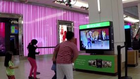 Microsoft xbox demonstrates dance game stock video footage