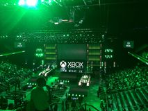 Microsoft xbox e3 2014 press conference. Microsoft E3 2014 press conference in Galen Center, Los Angeles royalty free stock photo