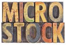 Microstock word abstract in wood type. Microstock photography concept - isolated word abstract in vintage letterpress wood block type, stained by color ink Stock Images
