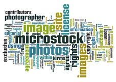 Microstock words. Words cloud with microstock photography related terms vector illustration