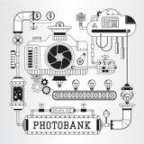 Microstock work process steampunk vector illustration. Stock Photo