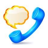 Microteléfono y burbuja del discurso Fotos de archivo