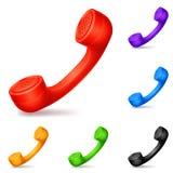 Microteléfonos coloreados Imagen de archivo libre de regalías