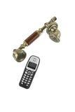 Microtelefoni dal retro telefono e da un telefono senza cordone Immagini Stock
