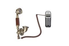Microtelefoni dal vecchio telefono e da un cordlessphone Fotografia Stock Libera da Diritti