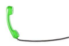Microtelefono dal telefono della linea terrestre su fondo bianco isolato fotografia stock libera da diritti