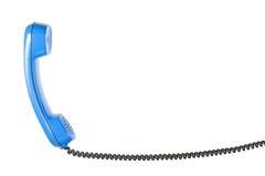 Microtelefono dal telefono della linea terrestre sui precedenti bianchi isolati immagine stock
