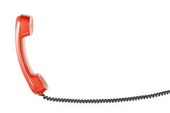 Microtelefono dal telefono della linea terrestre sui precedenti bianchi isolati immagini stock