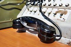 Microtelefono del telefono sul retro commutatore della stazione immagine stock libera da diritti