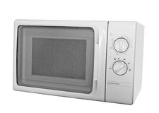 Microwave. The furnace on microwaves close up on a white background is isolated Royalty Free Stock Image