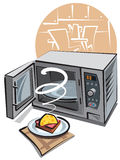 Microwave. Open microwave and hot sandwich on the napkin Stock Photography