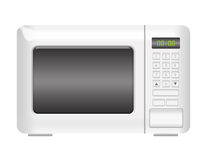 Microwave. White microwave with numbers isolated over white background Stock Photo