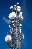 Microwave Antenna. A microwave antenna tower used for telecommunications links royalty free stock photo