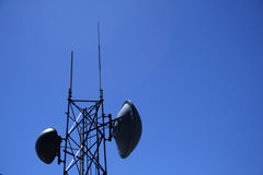 Microwave antenna tower Stock Photography