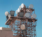 Microwave antennas. A shot of a microwave communication antennas Royalty Free Stock Images