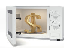Microwave with dollar sign Royalty Free Stock Photo