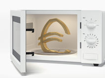 Microwave with euro sign Royalty Free Stock Images