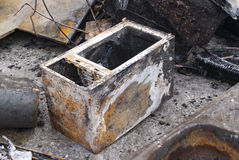 Microwave after fire Stock Image