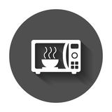 Microwave flat vector icon. Microwave oven symbol logo illustration on black round background with long shadow. vector illustration