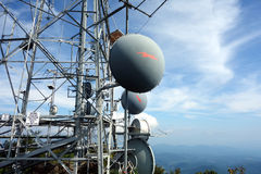 A microwave link on a mountain in virginia Royalty Free Stock Images