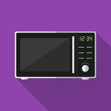 Microwave with long shadow. Vector icon Royalty Free Stock Images
